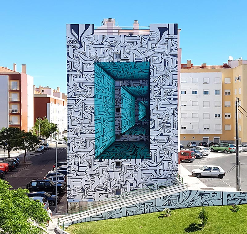 Street art optical illusions by Astro