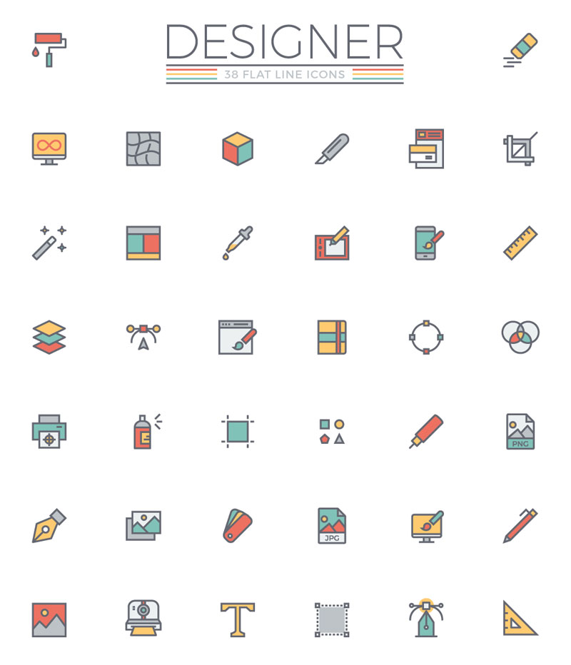 Freebie: the flat line designer icon set