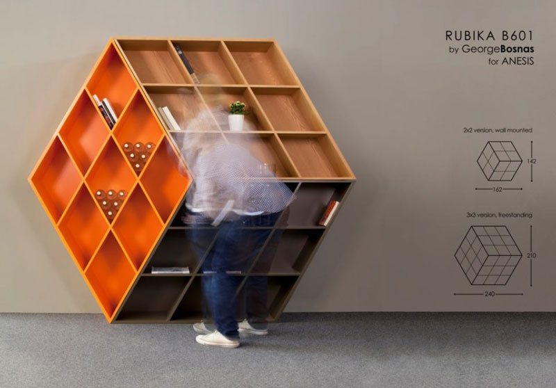Rubika B601, a bookcase inspired by a Rubik's Cube