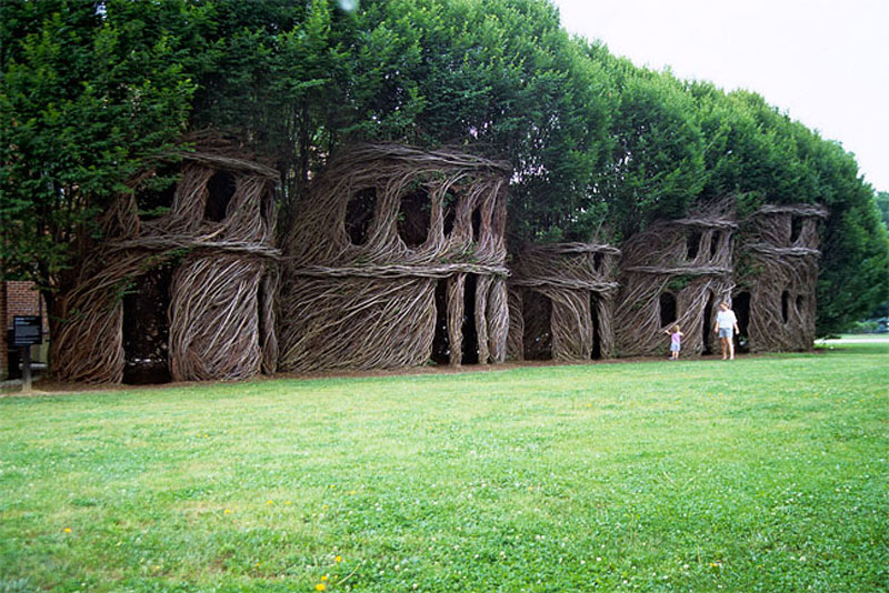 Nest houses made of living trees by Patrick Dougherty
