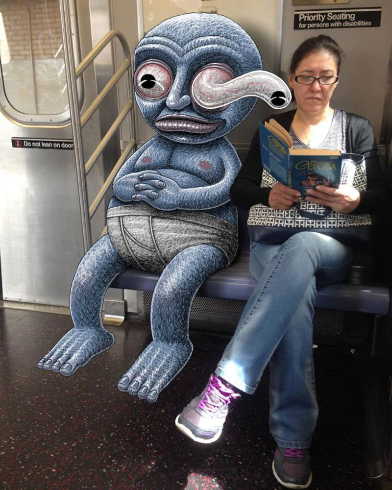 Artist draws creatures that invade the NYC subway