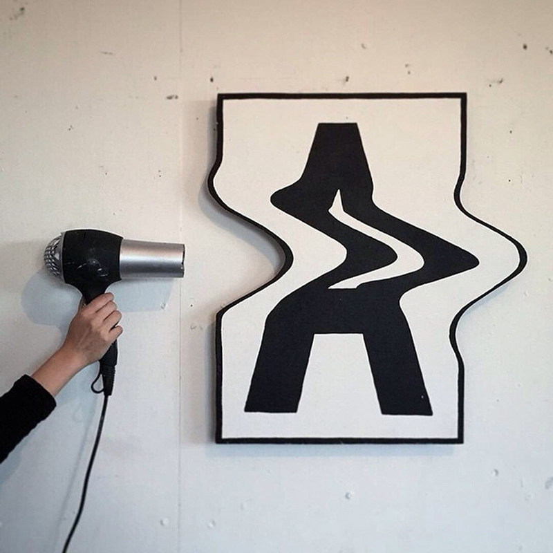 2D letters bent into the 3D dimension by this creative artist