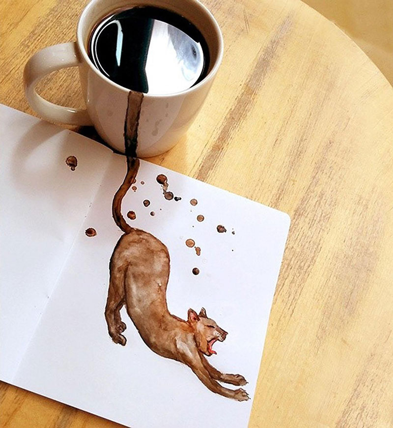 Coffee cats that just got out of the cup