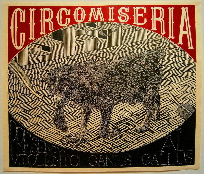Vintage-looking circus beasts linocuts by Otis