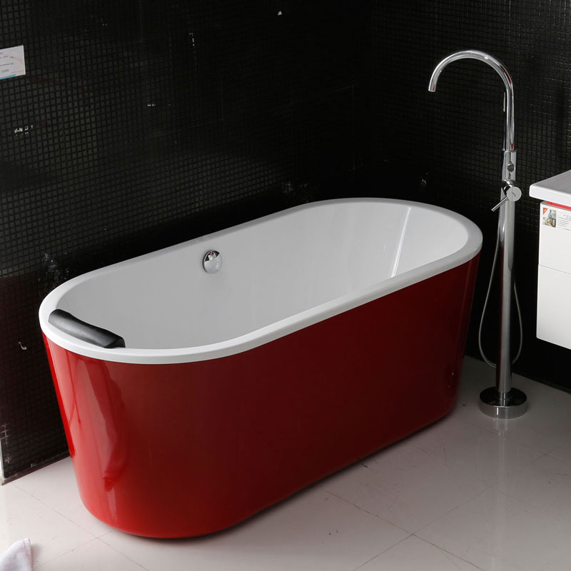 red-freestanding-bathtub