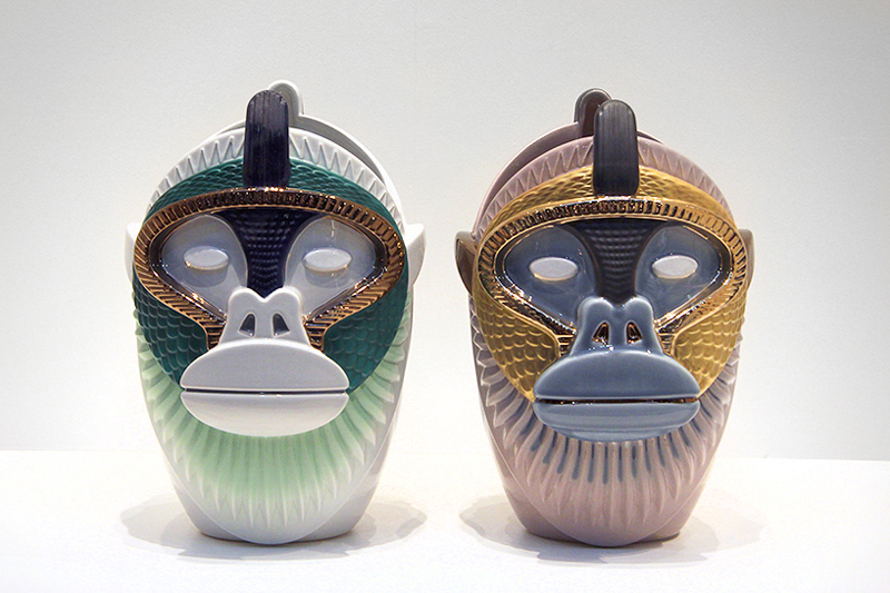 Primates: a set of fine ceramic vases that look like apes