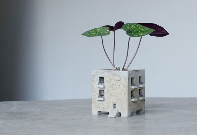 Cute planters that look like tiny buildings