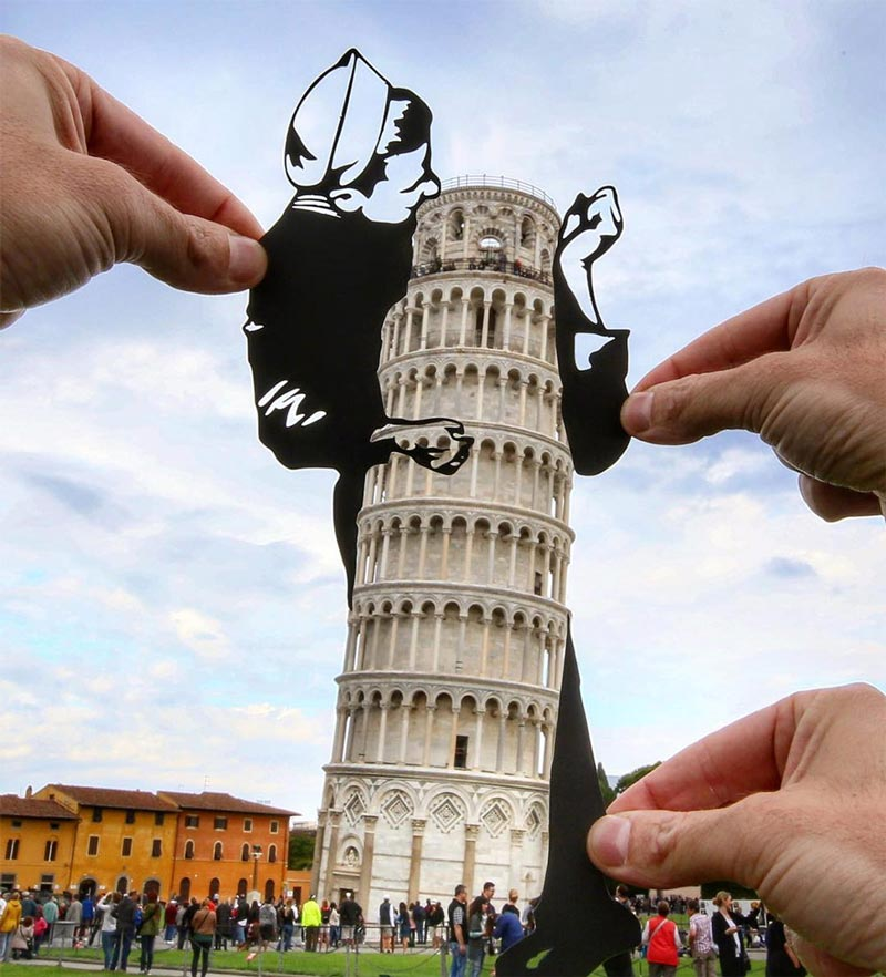 Paperboyo transforms famous landmarks using paper cutouts