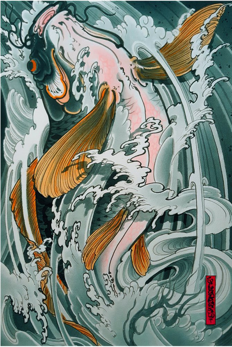 Inspired by Japanese prints, art by Mike Dorsey