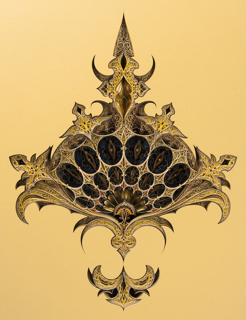 Layered Laser-Cut Paper artworks inspired by Architecture by Eric Standley