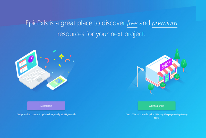 EpicPxls: Free and Premium Resources for Graphic and Web Designers