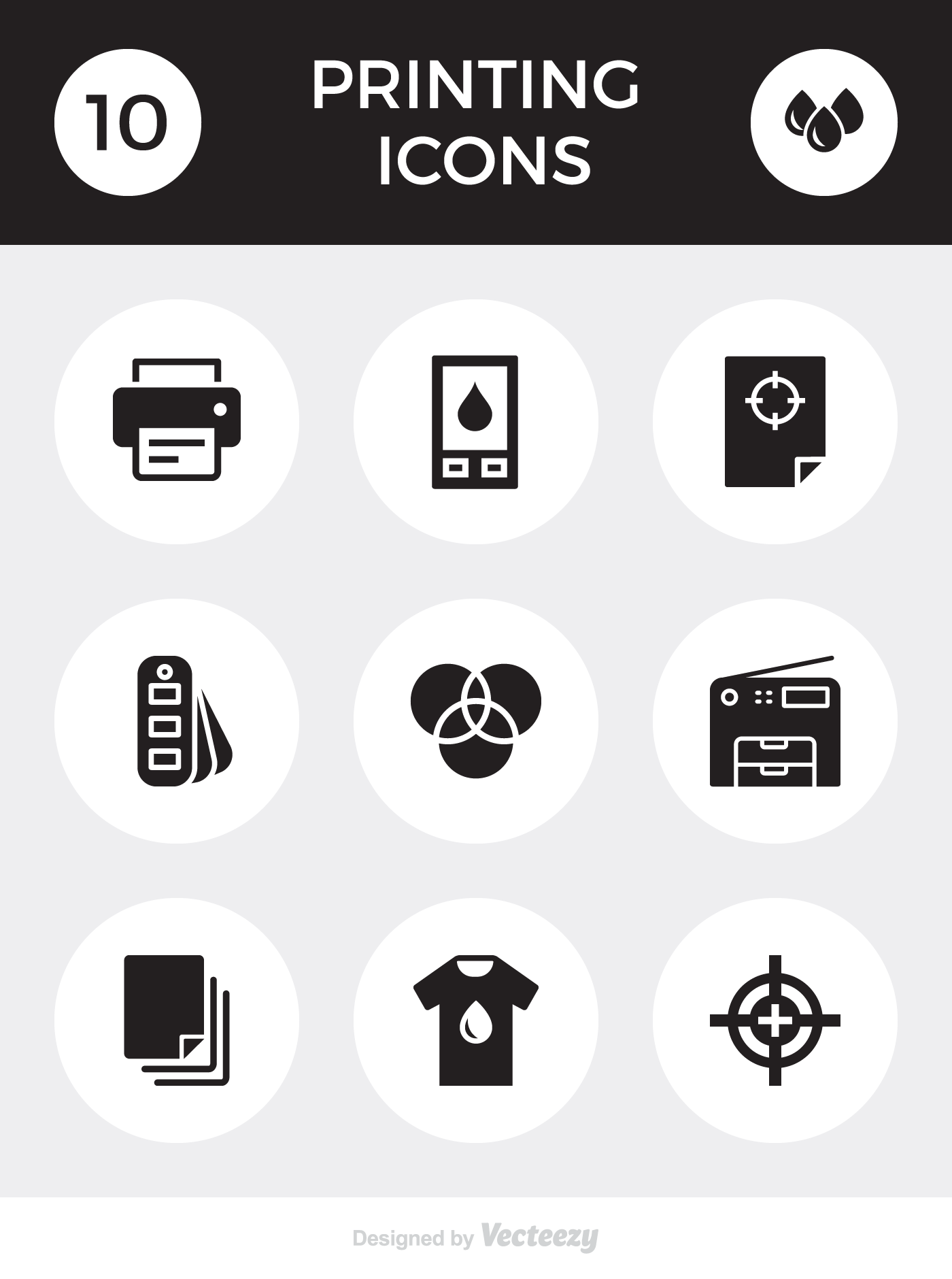 Freebie: 10 printing icons by Vecteezy
