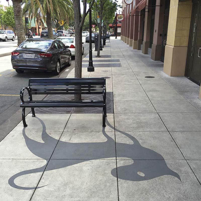 Street art made of fake shadows