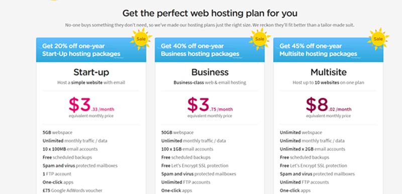 Cheap web hosting package