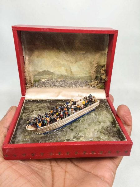 miniature scenes staged inside jewelry boxes by curtis