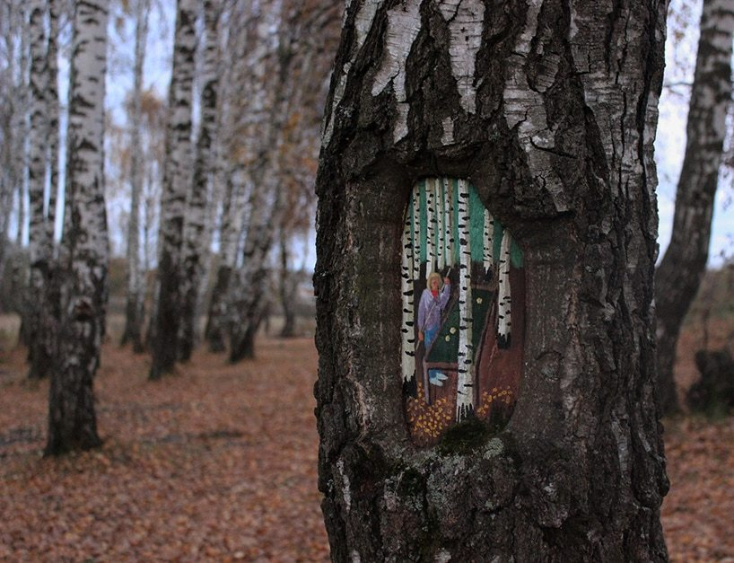 Street art on trees by Evgenia Dudnikova