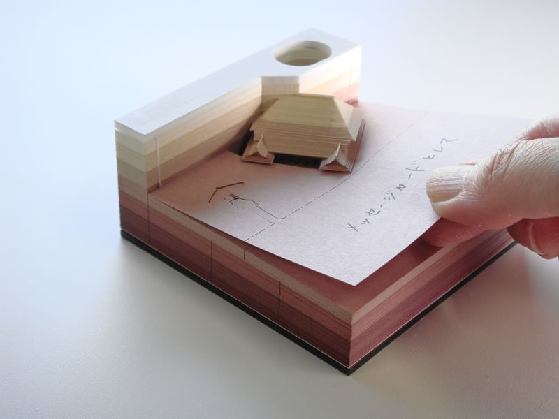 These Japanese memo pads will excavate objects as they get used