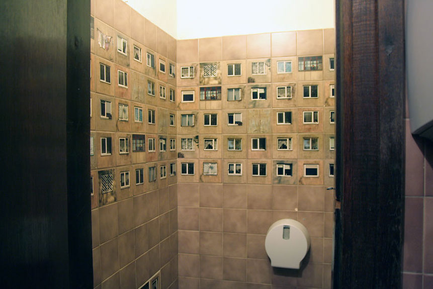 Bathroom tiles repurposed in a creative way