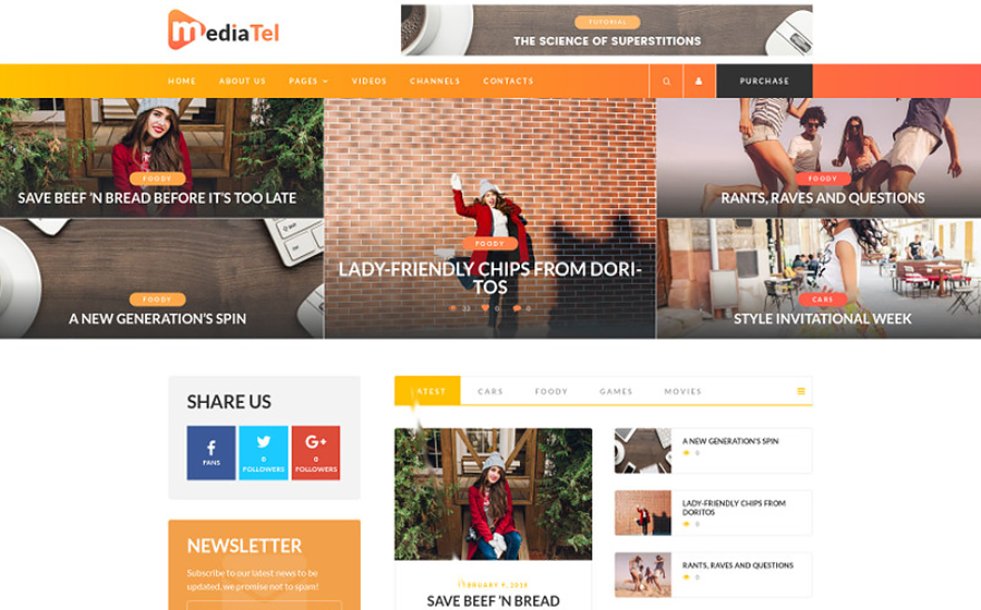 MediaTel - Youtube/Vimeo Video News Aggregator Magazine WordPress Theme