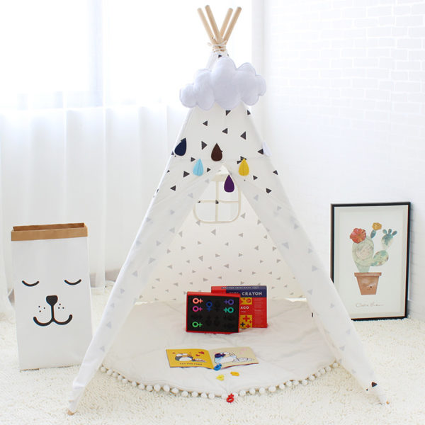 Four Poles Kids Tent Black Triangle Printed Teepee Children Play Tent Cotton Canvas Tipi for Baby Room Toy Ins Hot 3