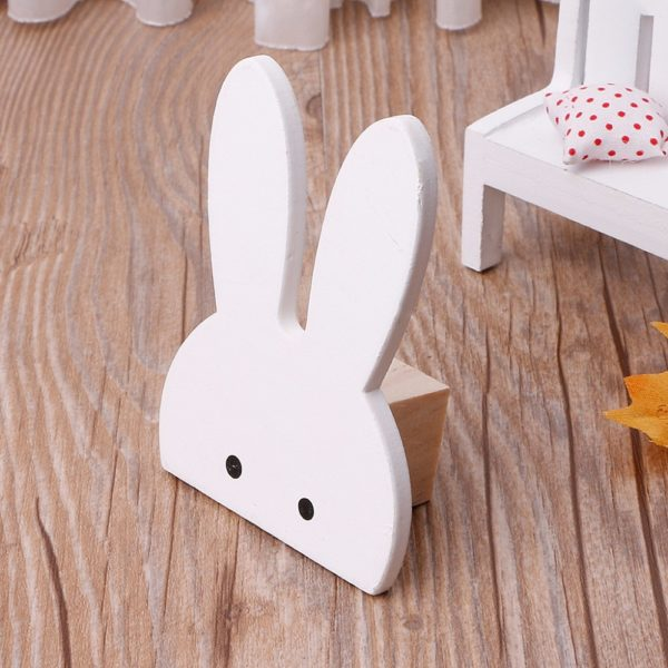Cute Bunny Rabbit Wooden Hook Clothes Hooks On Wall Decorate Kids Children Room ECO Friendly Wall Hanger Hooks White 1