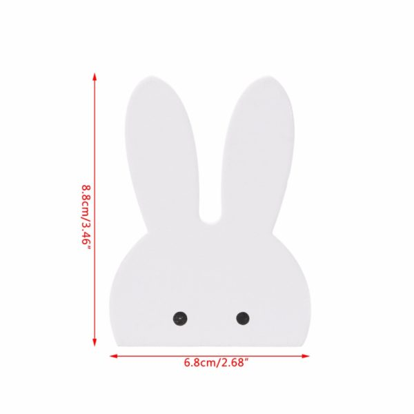 Cute Bunny Rabbit Wooden Hook Clothes Hooks On Wall Decorate Kids Children Room ECO Friendly Wall Hanger Hooks White 5