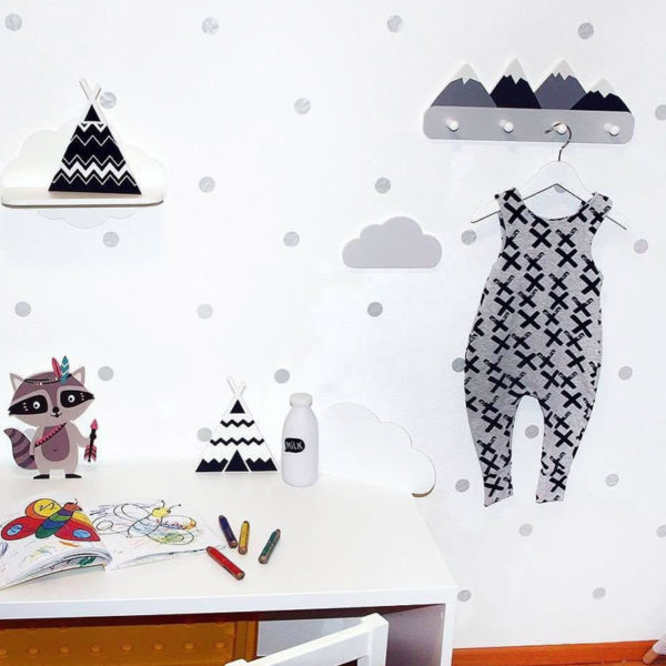 Nordic Style Wooden Mountain Kids Coat Rack Geometric Mountain Art Shelf For Clothes 4 Hook of 1piece Kids Room Decor Idea Gift 3