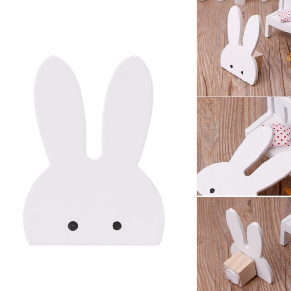 Cute Bunny Rabbit Wooden Hook Clothes Hooks On Wall Decorate Kids Children Room ECO Friendly Wall Hanger Hooks White