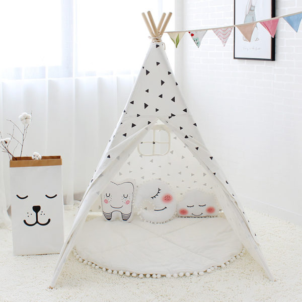 Four Poles Kids Tent Black Triangle Printed Teepee Children Play Tent Cotton Canvas Tipi for Baby Room Toy Ins Hot 2