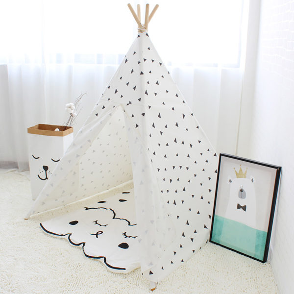 Four Poles Kids Tent Black Triangle Printed Teepee Children Play Tent Cotton Canvas Tipi for Baby Room Toy Ins Hot 1