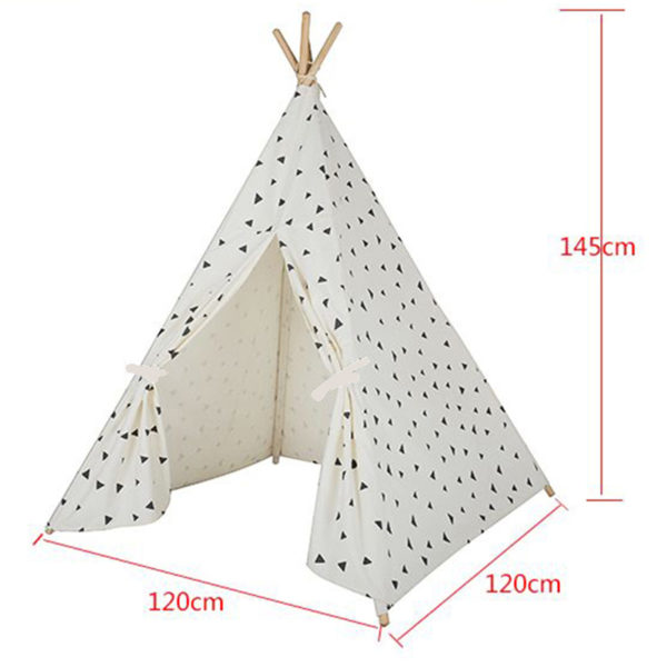 Four Poles Kids Tent Black Triangle Printed Teepee Children Play Tent Cotton Canvas Tipi for Baby Room Toy Ins Hot 5