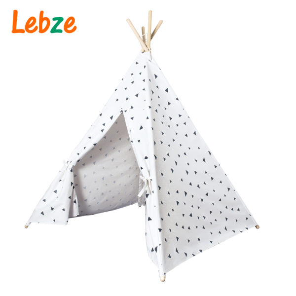 Four Poles Kids Tent Black Triangle Printed Teepee Children Play Tent Cotton Canvas Tipi for Baby Room Toy Ins Hot 4
