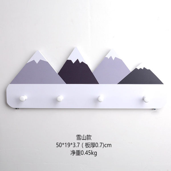 Nordic Style Wooden Mountain Kids Coat Rack Geometric Mountain Art Shelf For Clothes 4 Hook of 1piece Kids Room Decor Idea Gift 4