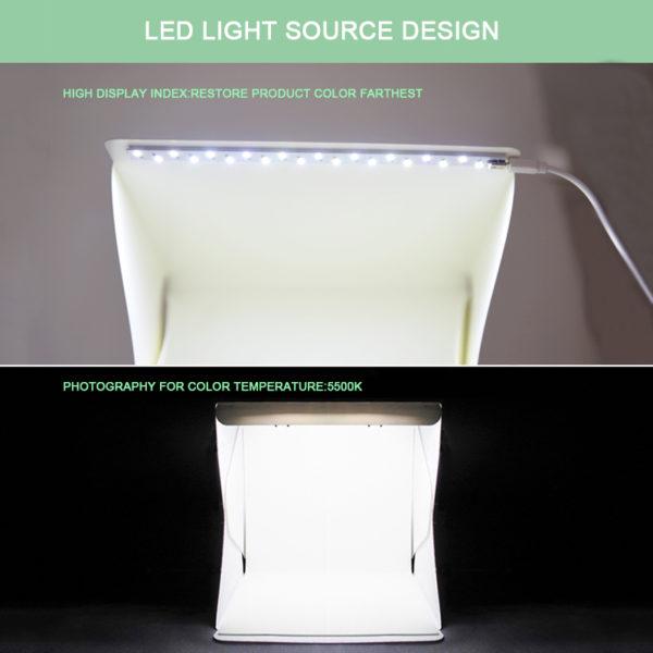Mini Folding Studio Diffuse Soft Box Lightbox With LED Light Black White Photography Background Photo Studio box USB LED light 4