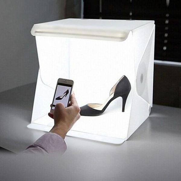 Mini Folding Studio Diffuse Soft Box Lightbox With LED Light Black White Photography Background Photo Studio box USB LED light 1