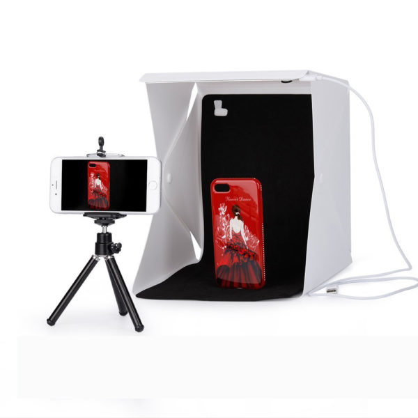 Mini Folding Studio Diffuse Soft Box Lightbox With LED Light Black White Photography Background Photo Studio box USB LED light 2