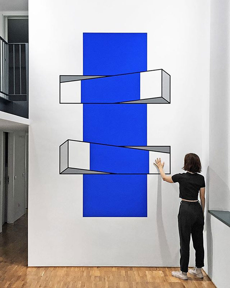 Colorful 3D Illusions created using Tape