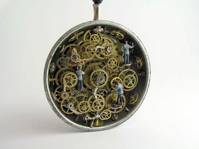 Gregory Grozos Creates Amazing Miniature Worlds Using Old Pocket Watches (I Love the Mechanisms)