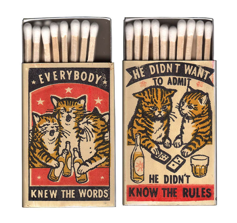 Not Your Ordinary Matchbox Art: Drunk Cats at the Bar