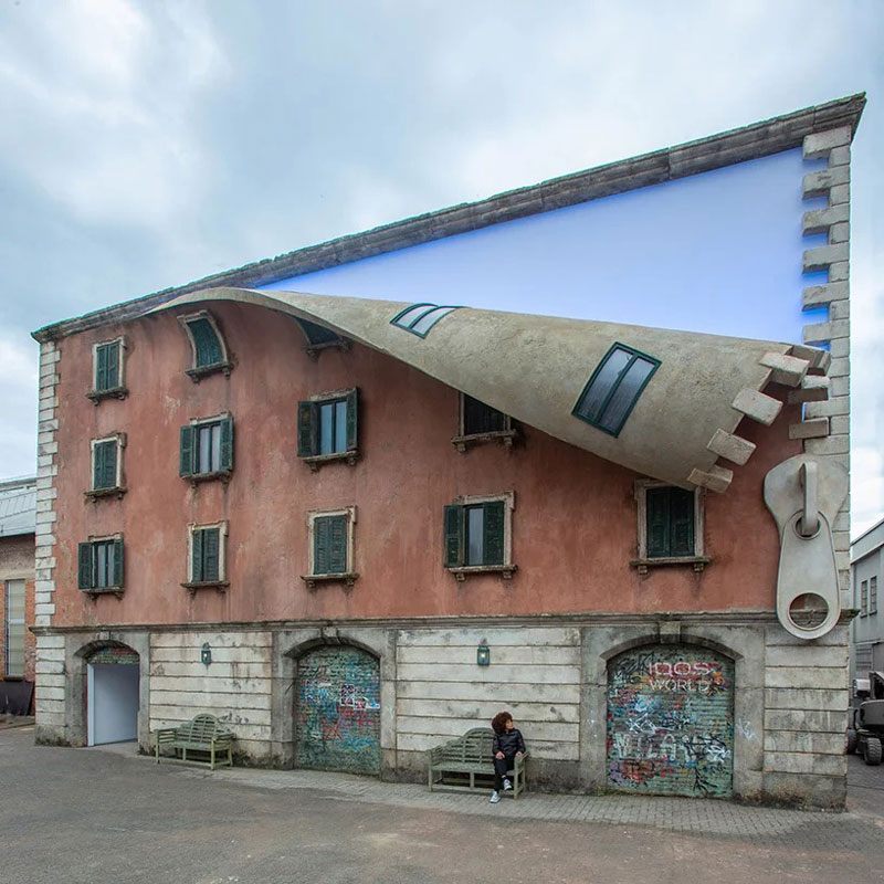 A Building Unzipped by Alex Chinneck at Milan Design Week