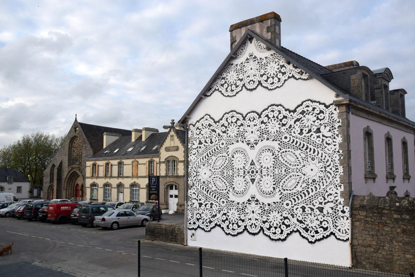 Street Artist NeSpoon Creates Gigantic Lace Pattern Art
